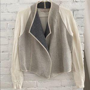 NWT loft cream gray draped sweater cardigan small